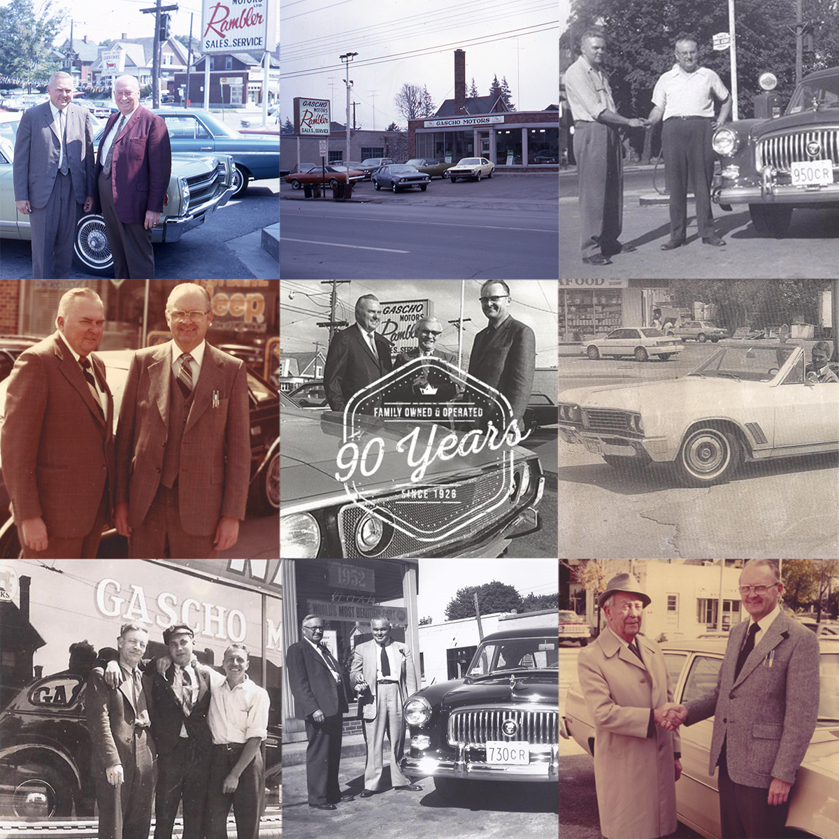 multiple pics of gascho automotive's history